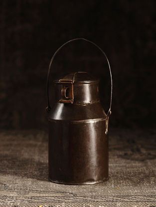 Brown Iron Vintage Milk Pot (L- 4.5in, W- 4.5in, H- 7.5in)