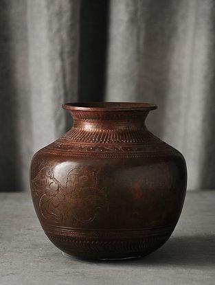 Copper Handmade Vintage Brass Pot (L-5.5in W-5.5in H-5.7in)