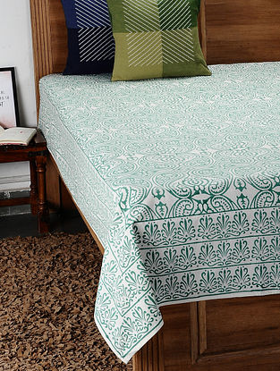 Green Hand Block Printed Cotton Double Bed Cover (108in x 91in)