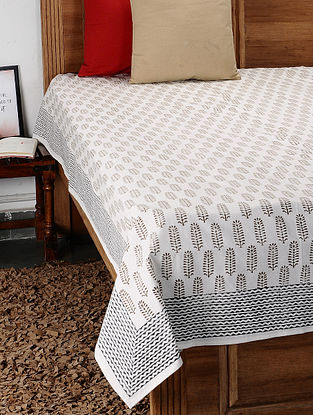 Brown Hand Block Printed Cotton Double Bed Cover (108in x 88in)