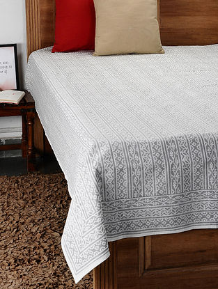 Grey Hand Block Printed Cotton Double Bed Cover (108in x 88in)