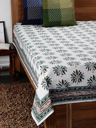 Green Hand Block Printed Cotton Double Bed Cover (107in x 88in)