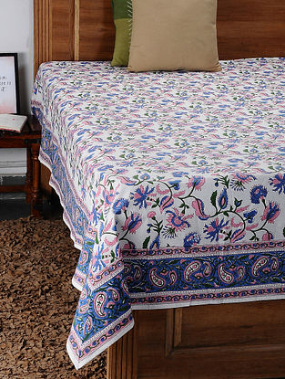 Pink Hand Block Printed Cotton Double Bed Cover (108in x 87in)