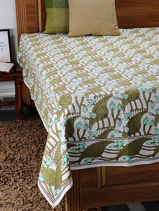 Brown Hand Block Printed Cotton Double Bed Cover (108in x 89in)