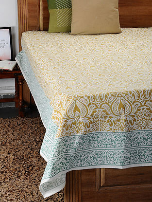 Brown Hand Block Printed Cotton Double Bed Cover (105in x 88in)