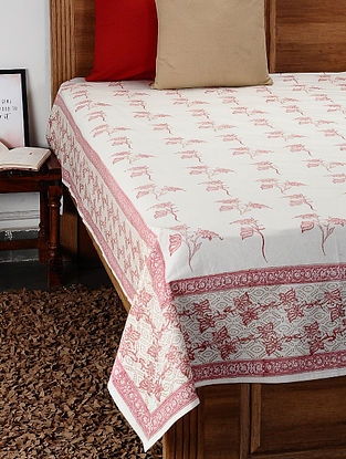 Pink Hand Block Printed Cotton Double Bed Cover (109in x 88in)