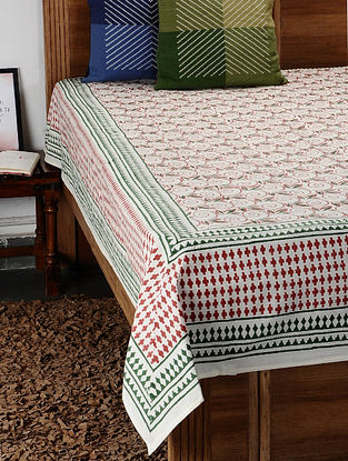 Red Hand Block Printed Cotton Double Bed Cover (107in x 90in)