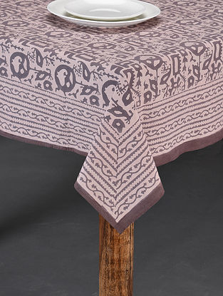 Brown Handblock Printed Cotton Table Cover (Length - 90in, Width - 58in)