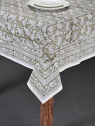 Green Handblock Printed Cotton Table Cover (Length - 86in, Width - 60in)