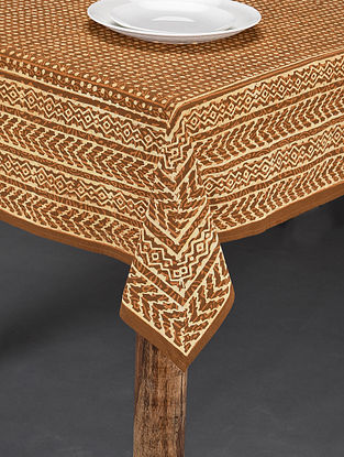 Brown Handblock Printed Cotton Table Cover (Length - 88in, Width - 70in)