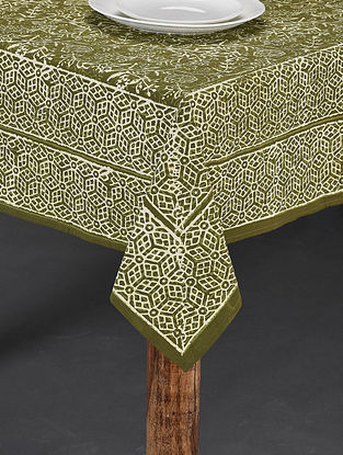 Green and White Handblock Printed Cotton Table Cover (Length - 86in, Width - 70in)