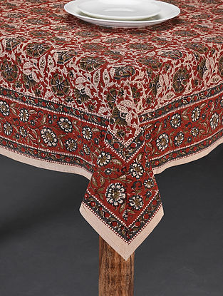 Rust and Green Handblock Printed Cotton Table Cover (Length - 60in, Width - 60in)