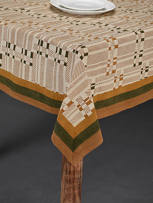 Beige-Multicolor Handblock Printed Cotton Table Cover (Length - 60in, Width - 58in)