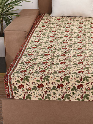 Off White-Multicolor Handblock Printed Cotton Double Bedcover (106in x 88in)