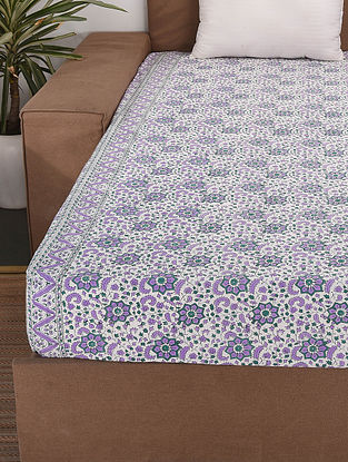 Off White-Multicolor Handblock Printed Cotton Double Bedcover (108in x 90in)