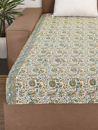 White-Multicolor Handblock Printed Cotton Double Bedcover (110in x 90in)