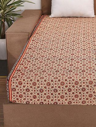 Beige-Multicolor Handblock Printed Cotton Double Bedcover (107in x 94in)