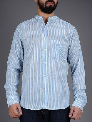 White-Blue Striped Mandarin Collar Full Sleeves Cotton Shirt