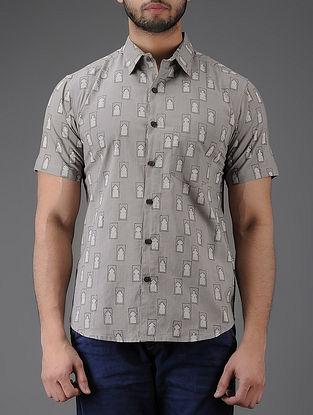 Grey Block-printed Half Sleeve Cotton Shirt