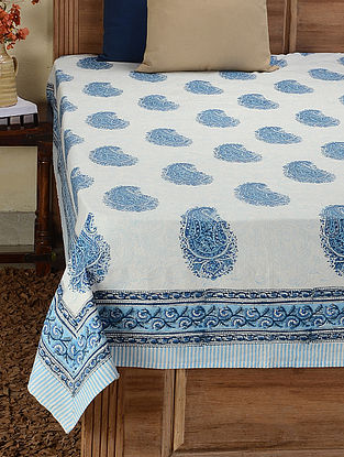 White- Blue Block-printed Cotton Double Bed Cover (107in x 87in)