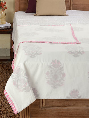 White-Multicolored Block-printed Cotton Double Dohar (107in x 89in)