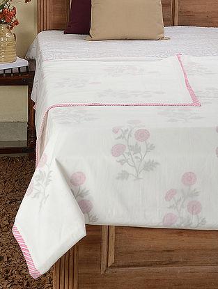 White-Multicolored Block-printed Cotton Double Dohar (109in x 89in)