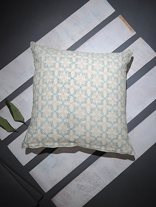 White-Blue Block-printed Cotton Cushion Cover (16in x 16in)