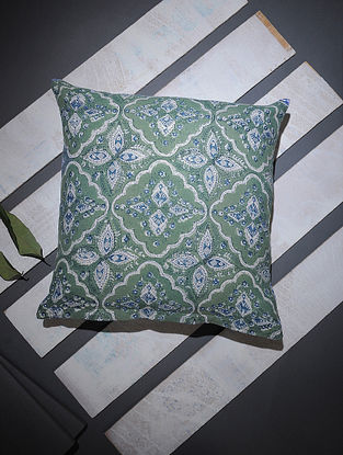 Green-Blue Block-printed Cotton Cushion Cover (16in x 16in)