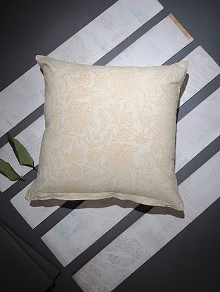 White-Yellow Block-printed Cotton Cushion Cover (16in x 16in)