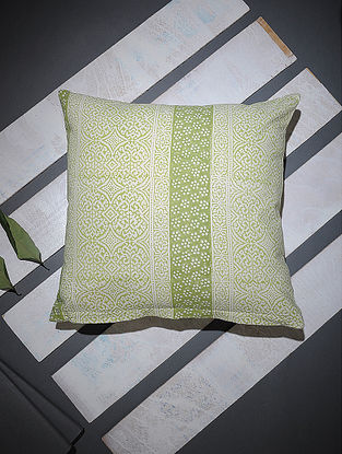 Green-White Block-printed Cotton Cushion Cover (16in x 16in)