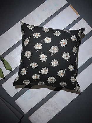 Black-White Block-printed Cotton Cushion Cover (16in x 16in)