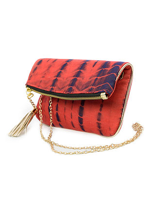 Red-Black Handcrafted Tie And Dye Silk Sling Bag