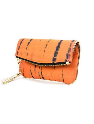 Orange-Black Handcrafted Tie And Dye Silk Sling Bag