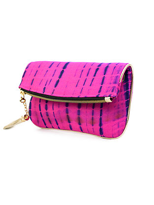Pink-Blue Handcrafted Tie And Dye Silk Sling Bag