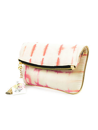 White-Pink Handcrafted Tie And Dye Silk Sling Bag