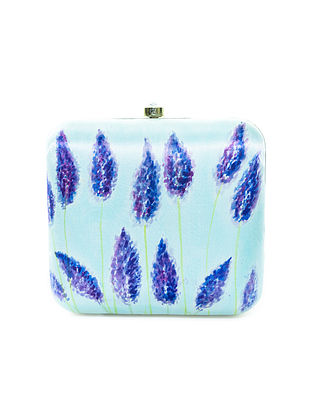 Blue Floral Motif Hand-Painted Silk Clutch