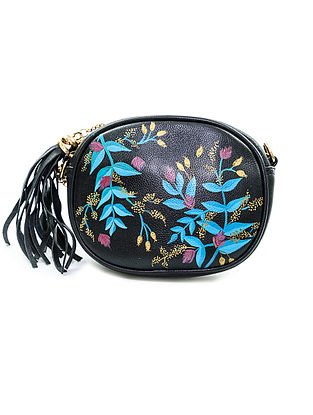 Black-Multicolored Hand-Painted Leather Clutch