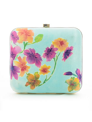 Blue-Multicolored Hand-Painted Satin Clutch