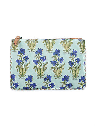 Blue-Green Hand Block Printed Cotton Pouch