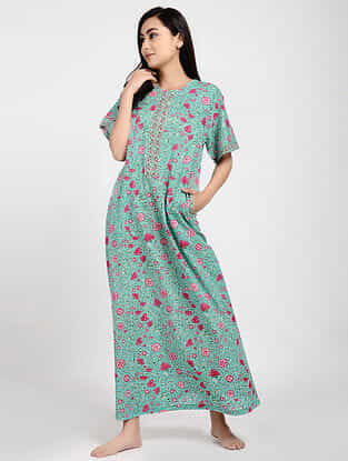 Turquoise Printed Cotton Kaftan