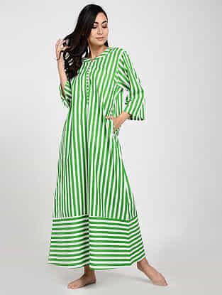 Green Printed Cotton Kaftan