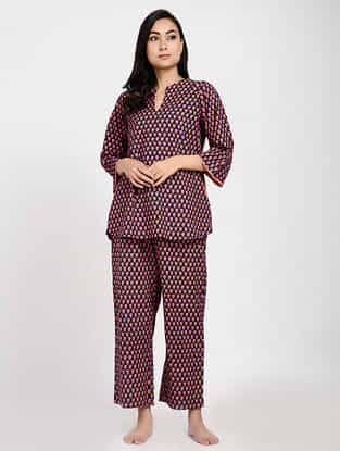 Navy Blue-Pink Printed Cotton Tunic with Pants (Set of 2)
