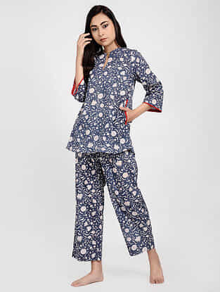 Blue Printed Cotton Tunic with Pants (Set of 2)