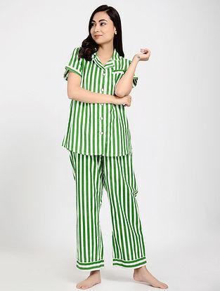 Green Printed Cotton Kurta with Pajama (Set of 2)