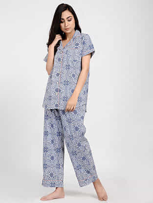 Indigo Printed Cotton Kurta with Pajama (Set of 2)