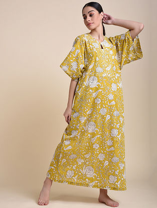 Mustard Floral Cotton Kaftan with Butterfly Sleeves