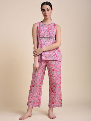 Pink Lilly Vine Cotton Top with Pyjama (Set of 2)