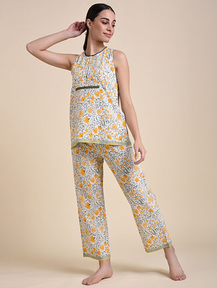 Yellow Floral Cotton Top with Pyjama (Set of 2)