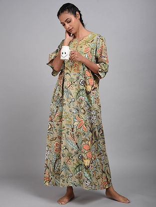 Green Jungle Printed Cotton Kaftan