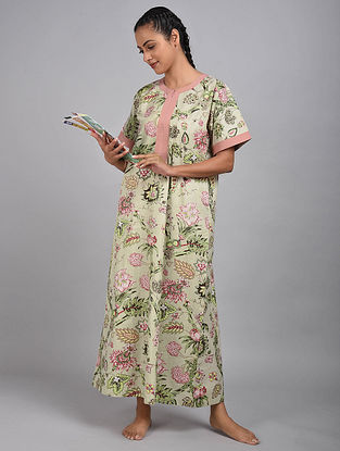 Pale Mint Floral Printed Cotton Kaftan